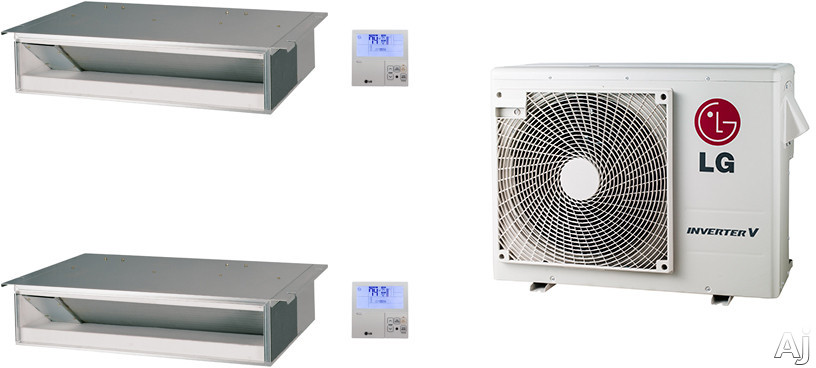 LG LG18KB16 2 Room Mini Split Air Conditioning System with Heat Pump, Low Ambient Operation, R-410A Refrigerant, Auto Restart and Auto Operation LG18KB16