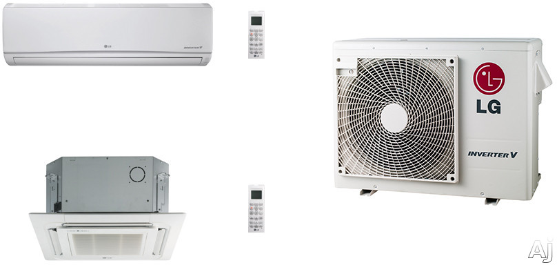 LG LG18KB10 2 Room Mini Split Air Conditioning System with Heat Pump, Low Ambient Operation, R-410A Refrigerant, Auto Restart and Auto Operation LG18KB10