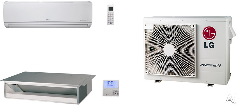 LG LG18KB17 2 Room Mini Split Air Conditioning System with Heat Pump, Low Ambient Operation, R-410A Refrigerant, Auto Restart and Auto Operation LG18KB17
