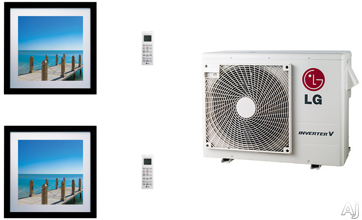 LG Art Cool Gallery LGARG24B4 2 Room Mini Split Air Conditioning System with Heat Pump Low Ambient Operation R 410A Refrigerant Auto Restart and Auto Operation