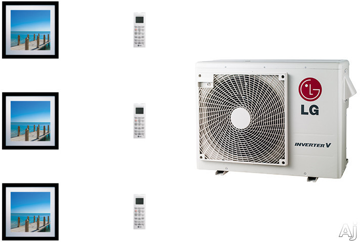 LG Art Cool Gallery LGARG24B3 3 Room Mini Split Air Conditioning System with Heat Pump Low Ambient Operation R 410A Refrigerant Auto Restart and Auto Operation