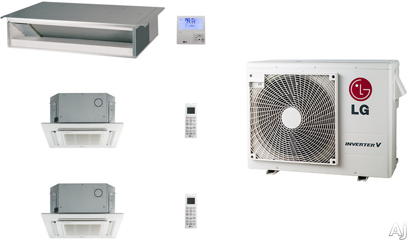 LG LG24KB25 3 Room Mini Split Air Conditioning System with Heat Pump, Low Ambient Operation, R-410A Refrigerant, Auto Restart and Auto Operation LG24KB25