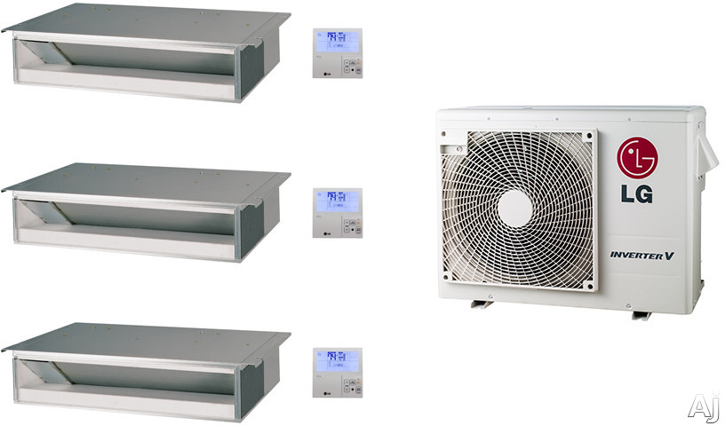 LG LG24KB56 3 Room Mini Split Air Conditioning System with Heat Pump, Low Ambient Operation, R-410A Refrigerant, Auto Restart and Auto Operation LG24KB56
