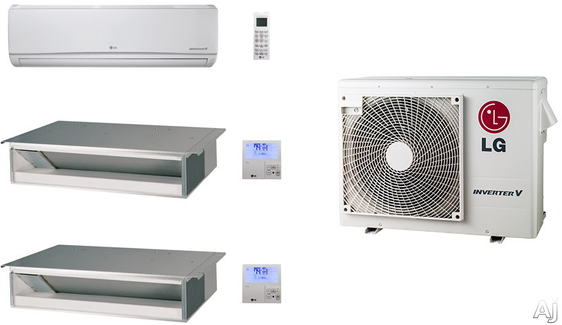 LG LG24KB57 3 Room Mini Split Air Conditioning System with Heat Pump, Low Ambient Operation, R-410A Refrigerant, Auto Restart and Auto Operation LG24KB57