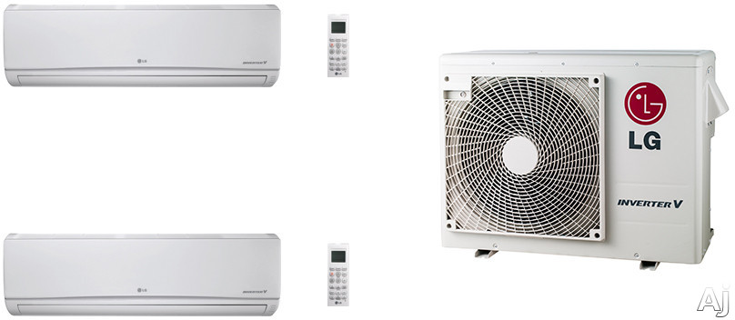 LG LG24KB73 2 Room Mini Split Air Conditioning System with Heat Pump, Low Ambient Operation, R-410A Refrigerant, Auto Restart and Auto Operation LG24KB73