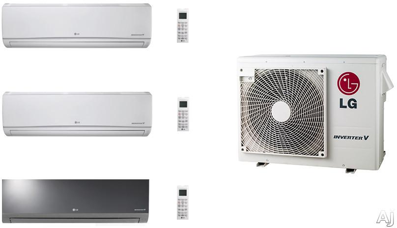 LG LGACMS24KB2 3 Room Mini Split System with Heat Pump, Low Ambient Operation, R-410A Refrigerant, Auto Restart and Auto Operation
