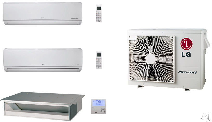 LG LG24KB61 3 Room Mini Split Air Conditioning System with Heat Pump, Low Ambient Operation, R-410A Refrigerant, Auto Restart and Auto Operation LG24KB61