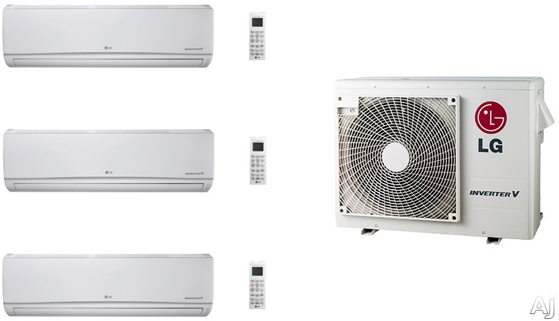 LG LG36KB140 3 Room Mini Split Air Conditioning System with Heat Pump, Low Ambient Operation, R-410A Refrigerant, Auto Restart and Auto Operation LG36KB140