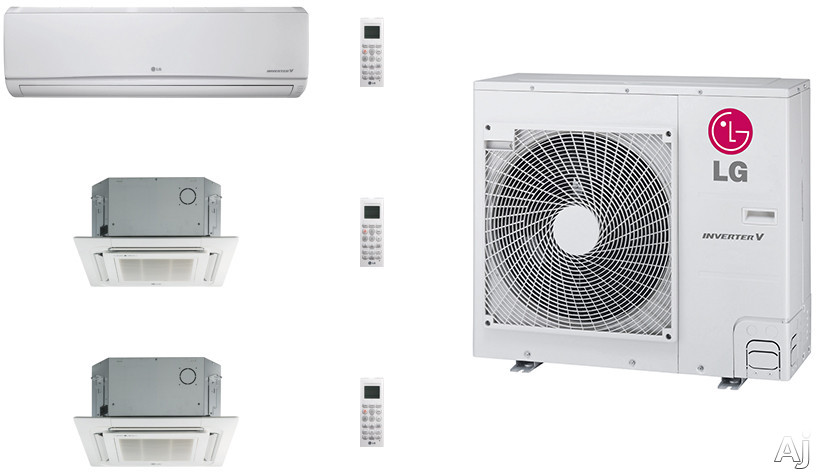 LG LG36KB3 3 Room Mini Split Air Conditioning System with Heat Pump, Low Ambient Operation, R-410A Refrigerant, Auto Restart and Auto Operation LG36KB3
