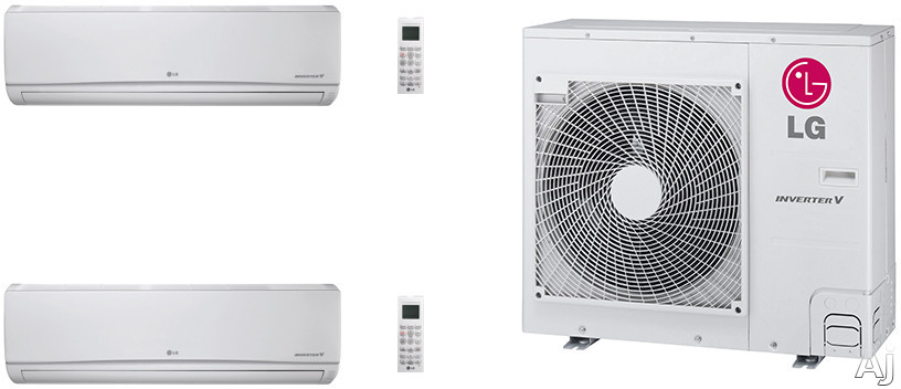 LG LG36KB130 2 Room Mini Split Air Conditioning System with Heat Pump, Low Ambient Operation, R-410A Refrigerant, Auto Restart and Auto Operation LG36KB130