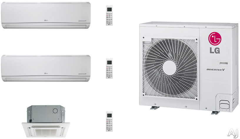 LG LG36KB27 3 Room Mini Split Air Conditioning System with Heat Pump, Low Ambient Operation, R-410A Refrigerant, Auto Restart and Auto Operation LG36KB27