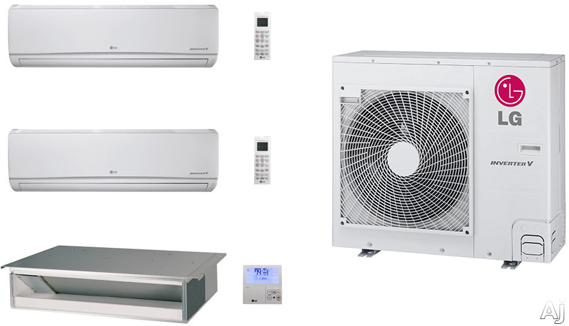 LG LG36KB101 3 Room Mini Split Air Conditioning System with Heat Pump, Low Ambient Operation, R-410A Refrigerant, Auto Restart and Auto Operation LG36KB101