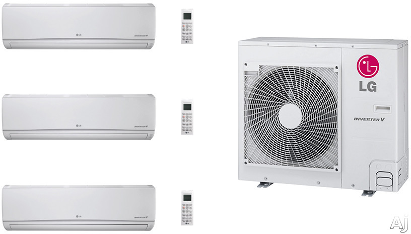 LG LG36KB148 3 Room Mini Split Air Conditioning System with Heat Pump, Low Ambient Operation, R-410A Refrigerant, Auto Restart and Auto Operation LG36KB148