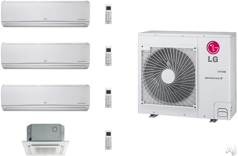 LG LG36KB28 4 Room Mini Split Air Conditioning System with Heat Pump, Low Ambient Operation, R-410A Refrigerant, Auto Restart and Auto Operation LG36KB28