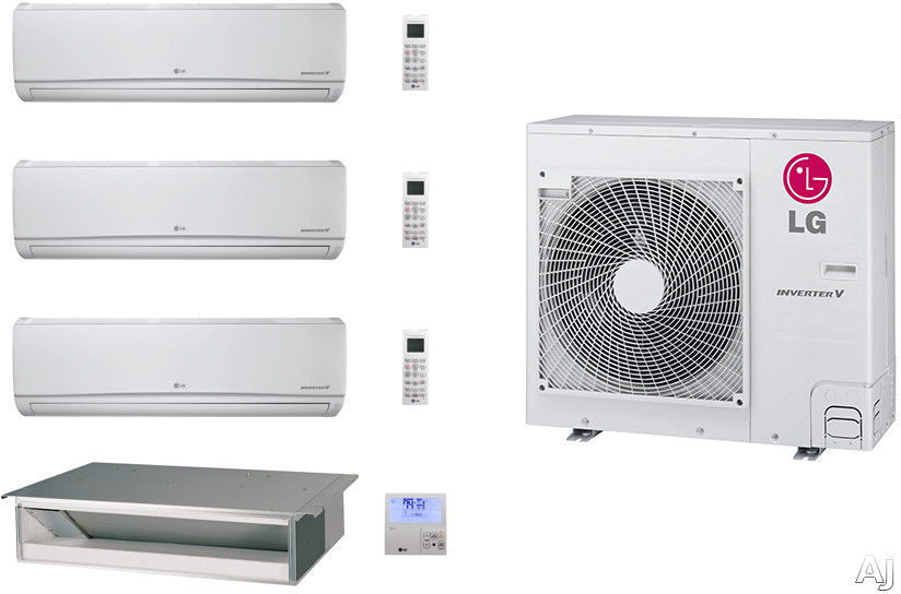 LG LG36KB100 4 Room Mini Split Air Conditioning System with Heat Pump, Low Ambient Operation, R-410A Refrigerant, Auto Restart and Auto Operation LG36KB100