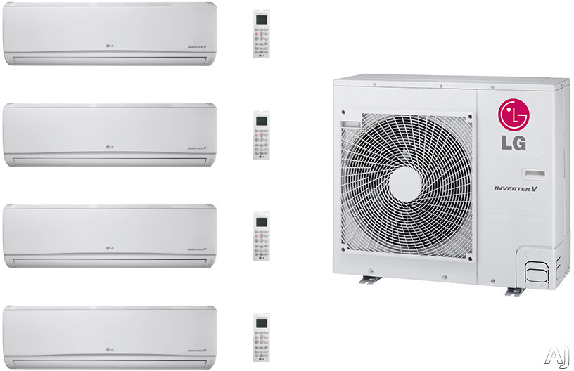 LG LG36KB135 4 Room Mini Split Air Conditioning System with Heat Pump, Low Ambient Operation, R-410A Refrigerant, Auto Restart and Auto Operation LG36KB135