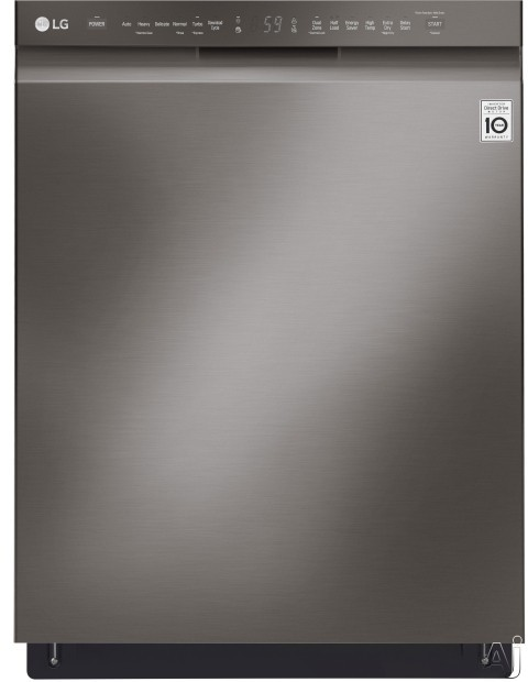 LG LDF5545BD 24 Inch Full Console QuadWash™ Dishwasher with Dual Control™ Cycle, EasyRack™ Plus System, NeveRust™ Stainless Steel, Inverter Direct Drive Motor, 15 Place Setting Capacity, LoDecibel™ Operation 48 dB and ENERGY STAR® Rated: Black