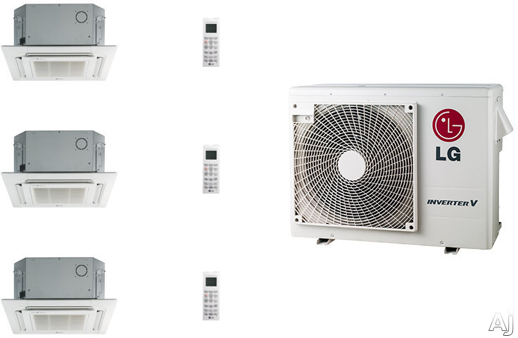 LG LG24KB2K57 3 Room Mini Split System with Heat Pump, Heat Pump, Inverter (Variable Speed Compressor), Low Ambient Operation, R-410A Refrigerant, Auto Restart, Auto Operation, Self-Diagnosis, Defrost/Deicing and Gold Fin Anti-corrosion LG24KB2K57