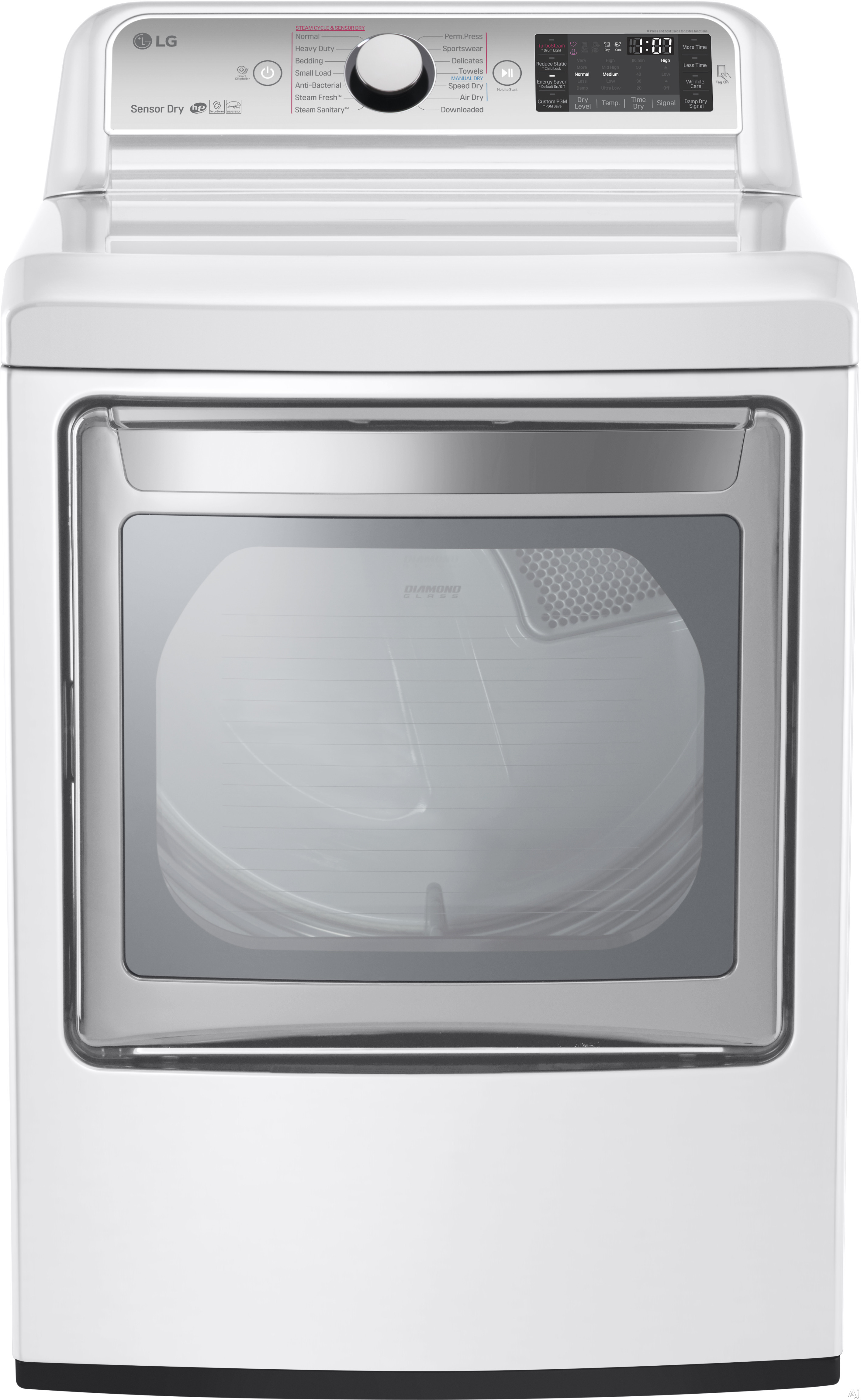 LG DLEX7600WE 27 Inch 7.3 cu. ft. Electric Dryer with 14 Dry Programs TurboSteam EasyLoad Door Smart ThinQ Technology ReduceStatic Option NeveRust Stainless Steel Drum and ENERGY STAR Qualified White