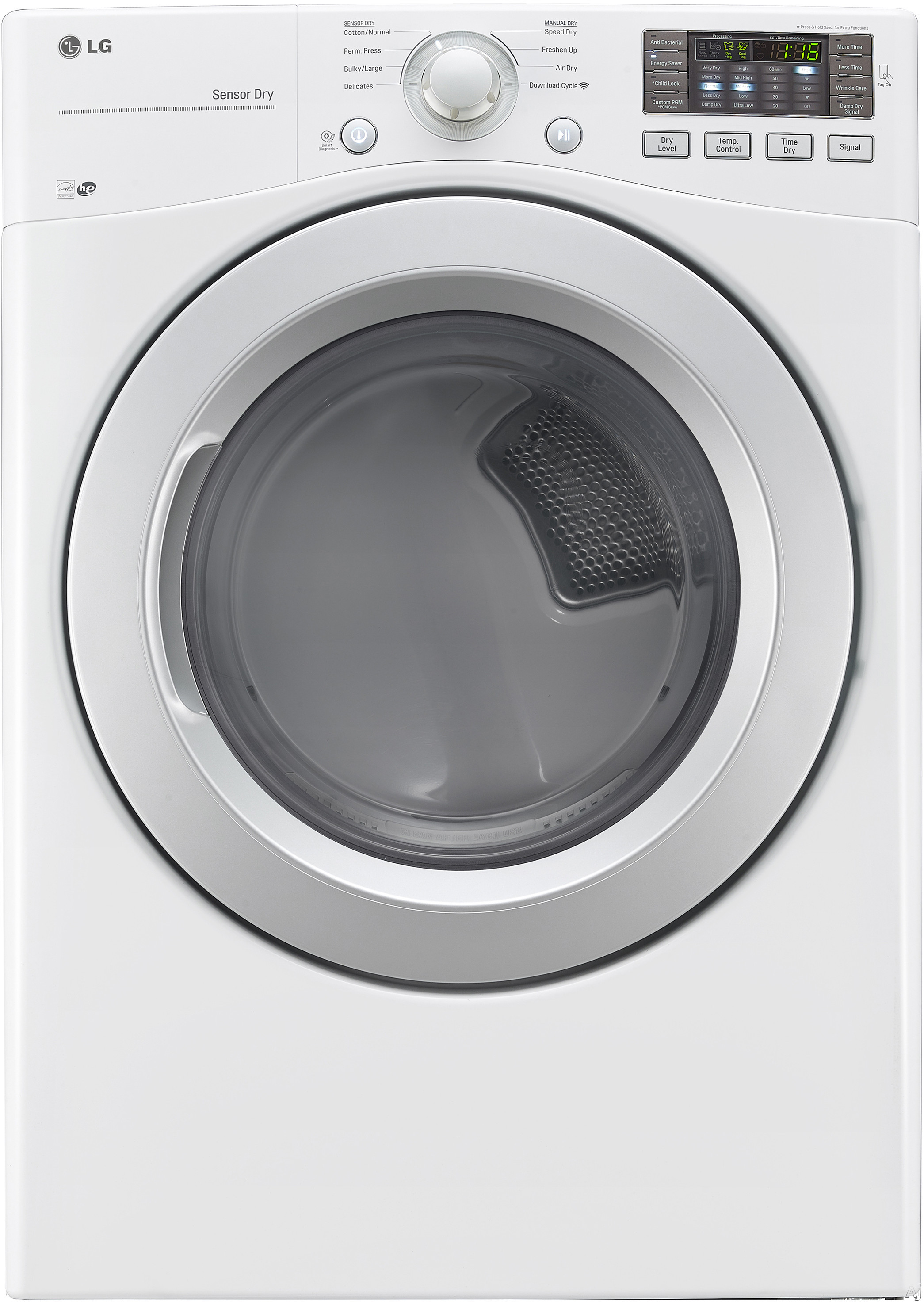 LG DLG3171W 27 Inch Gas Dryer with Wrinkle Care Sensor Dry NFC Tag On Anti Bacterial Cycle Speed Dry 8 Drying Programs Smart Diagnosis LoDecibel Quiet Operation ENERGY STAR and 7.4 cu. ft. Capacity
