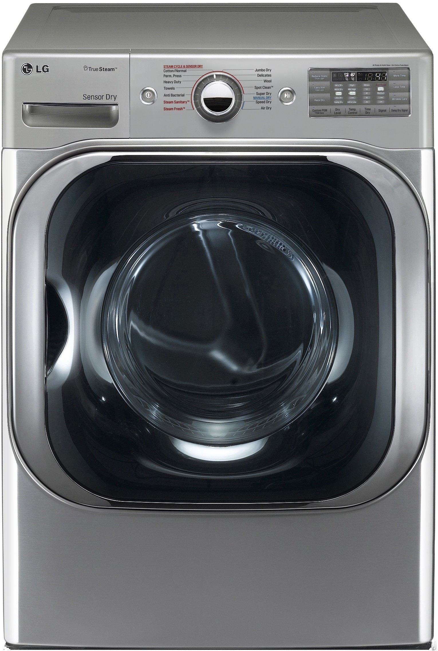 LG SteamDryer Series DLEX8100 29 Inch 9.0 cu. ft. Electric Dryer with 14 Dry Cycles, 11 Drying Options, 5 Temperature Selections, TrueSteam Technology, Sensor Dry, SpotClean, Wrinkle Care, SmartDiagnosis and LoDecibel Quiet Operation
