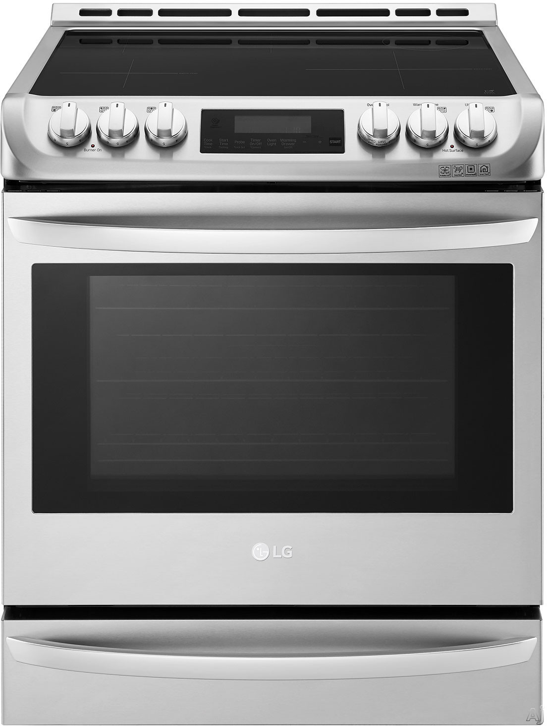 LG LSE4617ST 30 Inch Slide-In Induction Range with 6.3 cu. ft. Capacity, 5 Cooktop Zones, Infrared Grill, 11 Cooking Modes, ProBake Convection, Pizza Mode, Proof Mode, Wi Fi Connectivity, Self Clean a