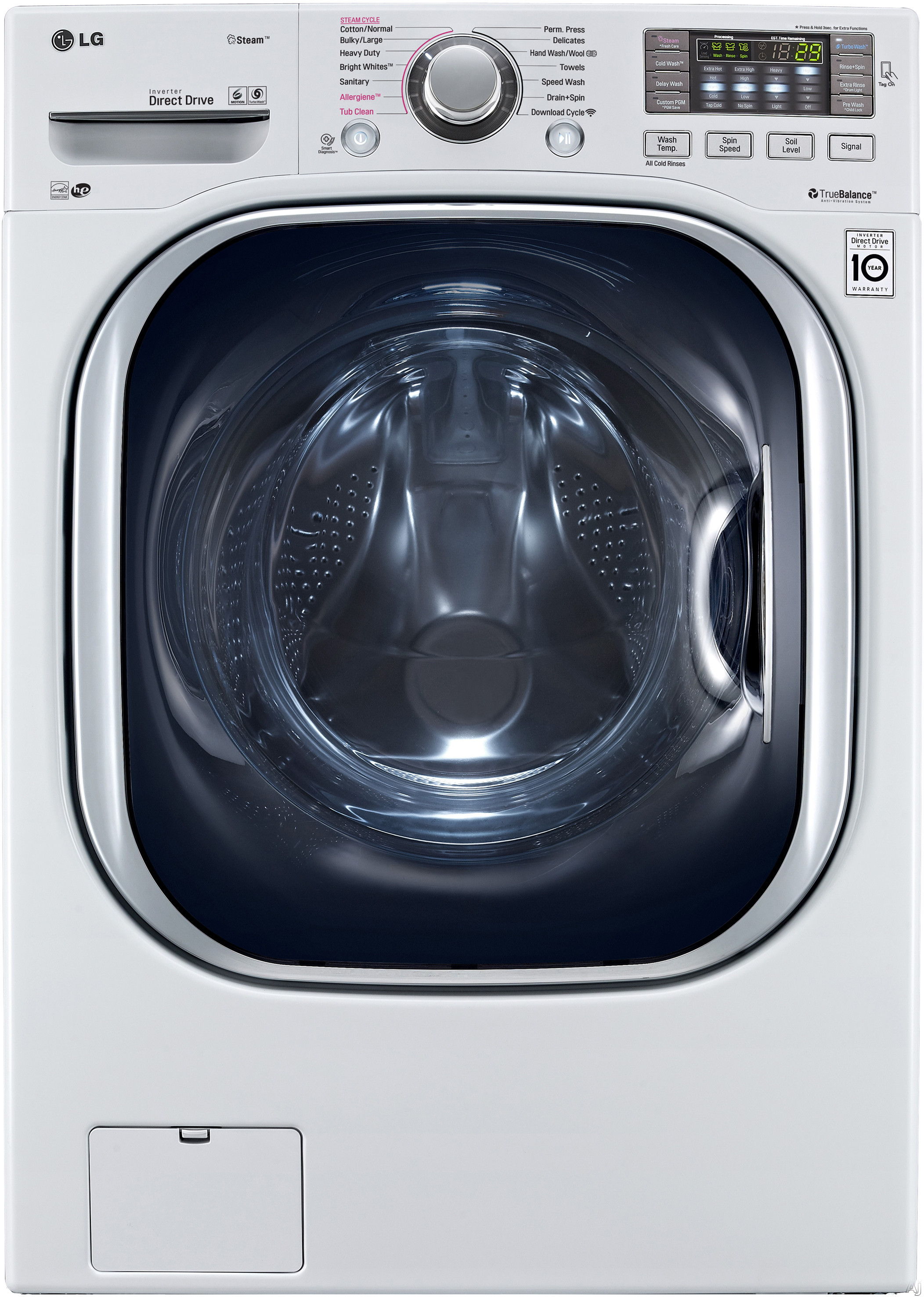 LG WM4370 27 Inch Front Load Washer with 4.5 cu. ft. Capacity, 14 Wash Programs, Steam, TurboWash, Speed Wash, Allergiene Cycle, Sanitary Cycle, 4-Tray Dispenser, LoDecibel Quiet Operation and ENERGY STAR Qualification