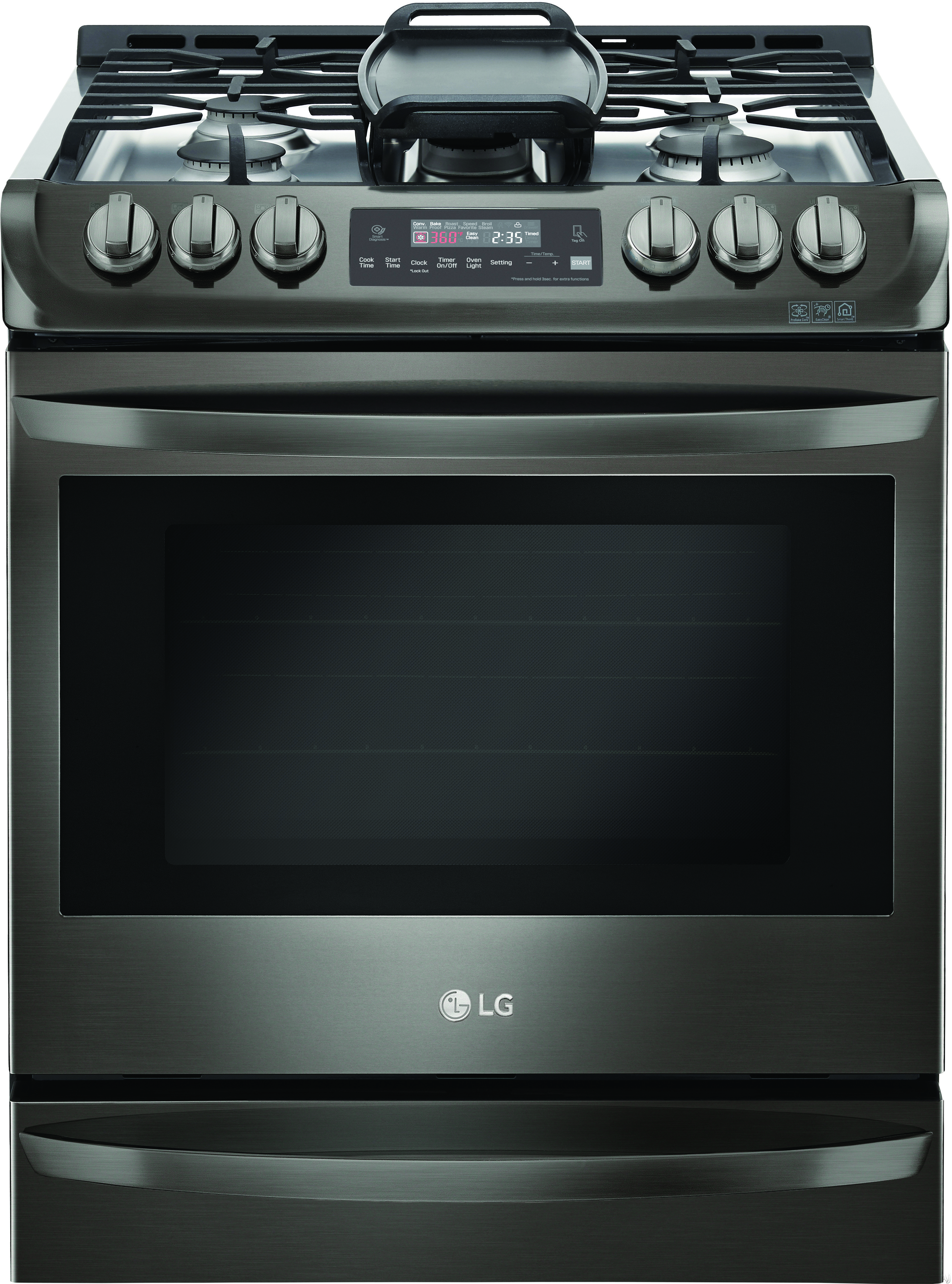 LG LSG4513BD 30 Inch Slide-in Gas Range with Convection®, LG UltraHeat Burner™, EasyClean®, 6.3 cu. ft. Capacity, 5 Sealed Burners, 11 Cooking Modes, Griddle and Storage Drawer: Black Stai