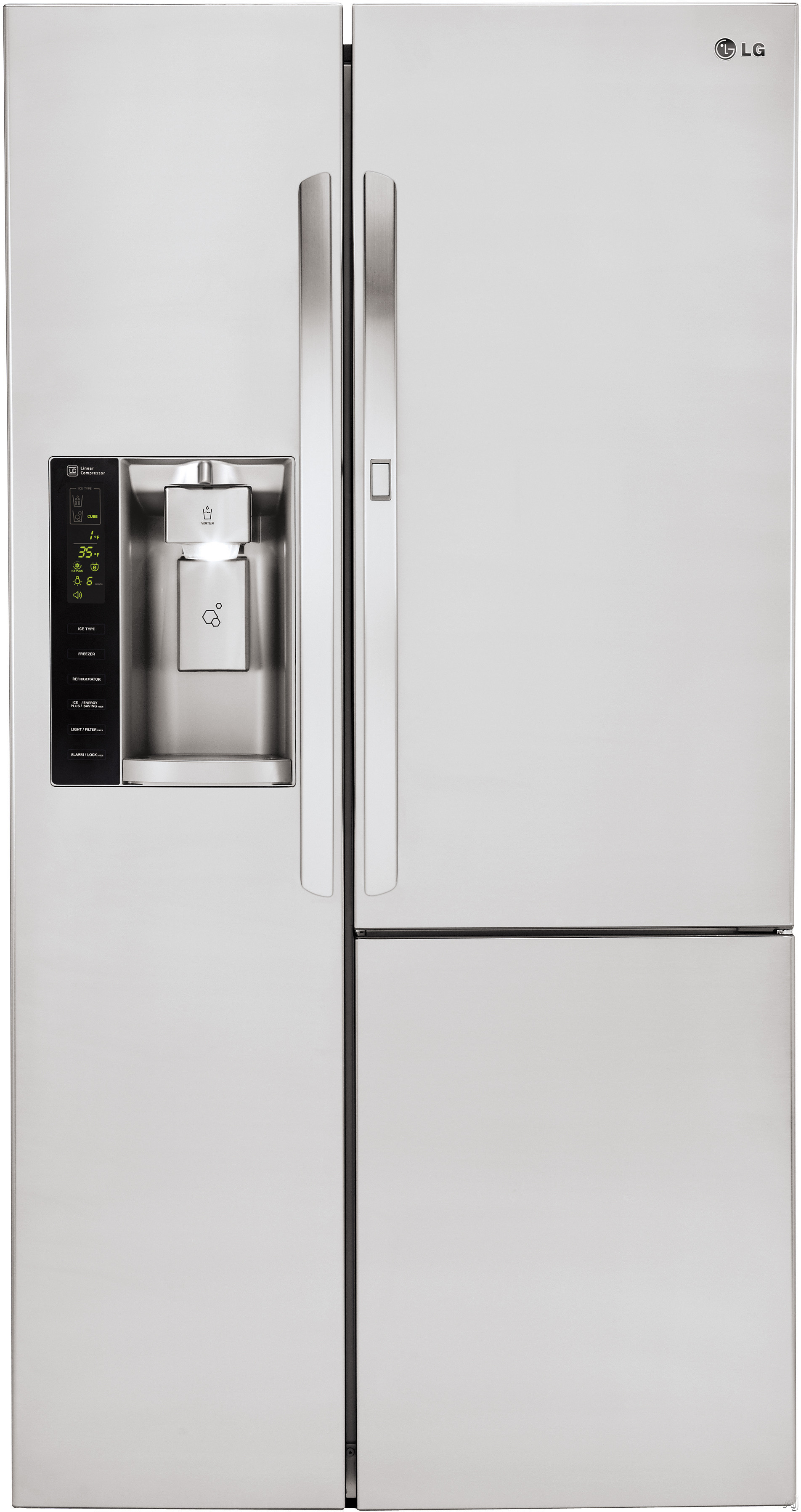 LG LSXS26366S 36 Inch Side-by-Side Refrigerator with Door-in-Door®, ColdSaver™ Panel, SpacePlus® Ice System, Linear Compressor, Ice and Water Dispenser, Water and Air Filter, Adjustable Gl