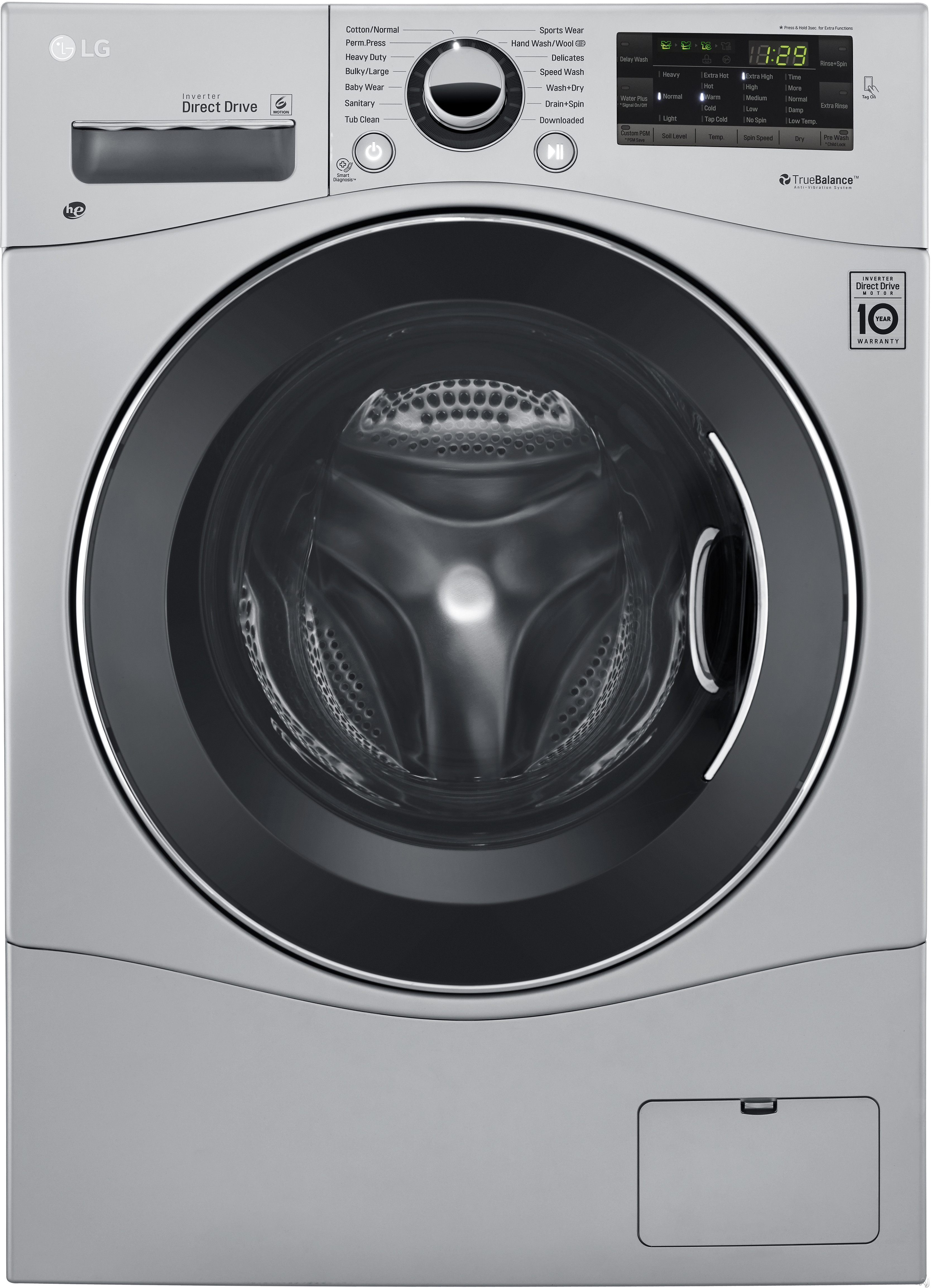 LG WM3488H 24 Inch Ventless Electric Washer/Dryer Combo with 2.3 cu. ft Capacity, 14 Wash Cycles, 10 Wash Options, Steam, Sanitary Cycle, 1,400 RPM, NFC Tag On Technology, 4 Tray Dispenser, LoadSense and LoDecibel Quiet Operation