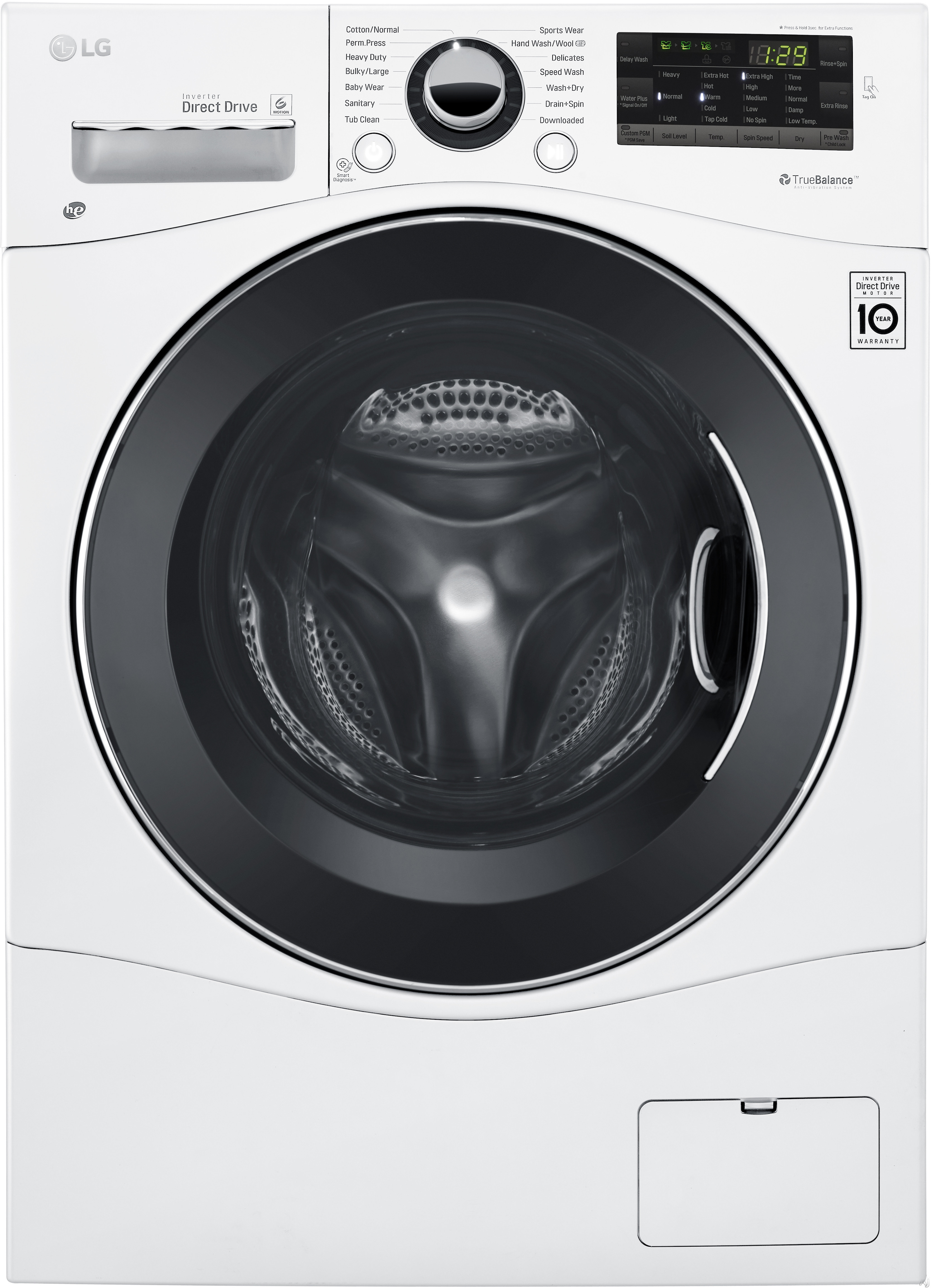 LG WM3488HW 24 Inch Ventless Electric Washer/Dryer Combo with 2.3 cu. ft Capacity, 14 Wash Cycles, 10 Wash Options, Steam, Sanitary Cycle, 1,400 RPM, NFC Tag On Technology, 4 Tray Dispenser, LoadSense and LoDecibel Quiet Operation: White