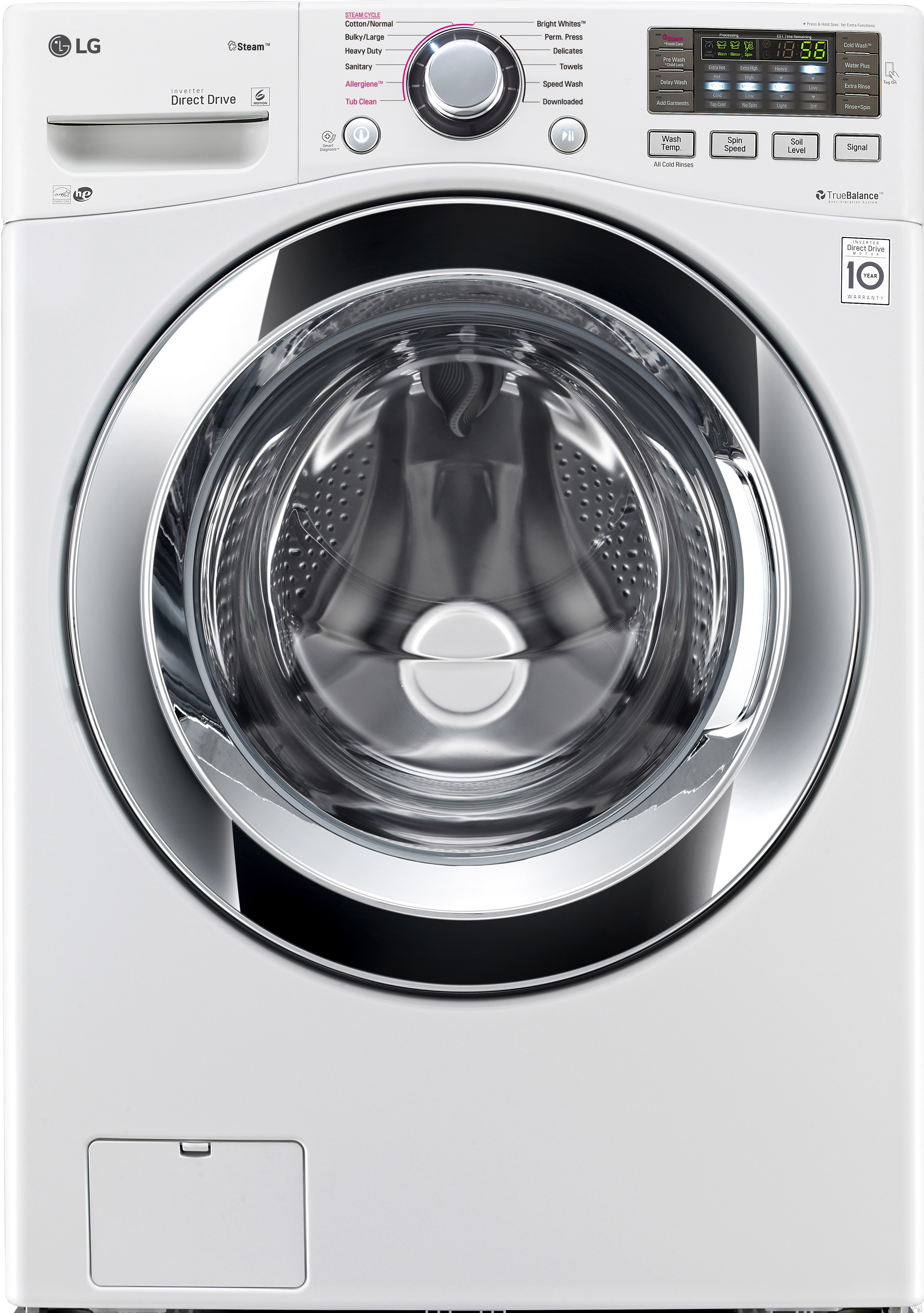 LG WM3670HWA 27 Inch 4.5 cu. ft. Front Load Washer with Steam, Smart ThinQ (Wi-Fi), NFC Tag-On Technology, Sanitary Cycle, 9 Wash Cycles, Allergen Cycle, NeveRust™ Stainless Steel Drum, 4-Tray Dispenser and ENERGY STAR®: White