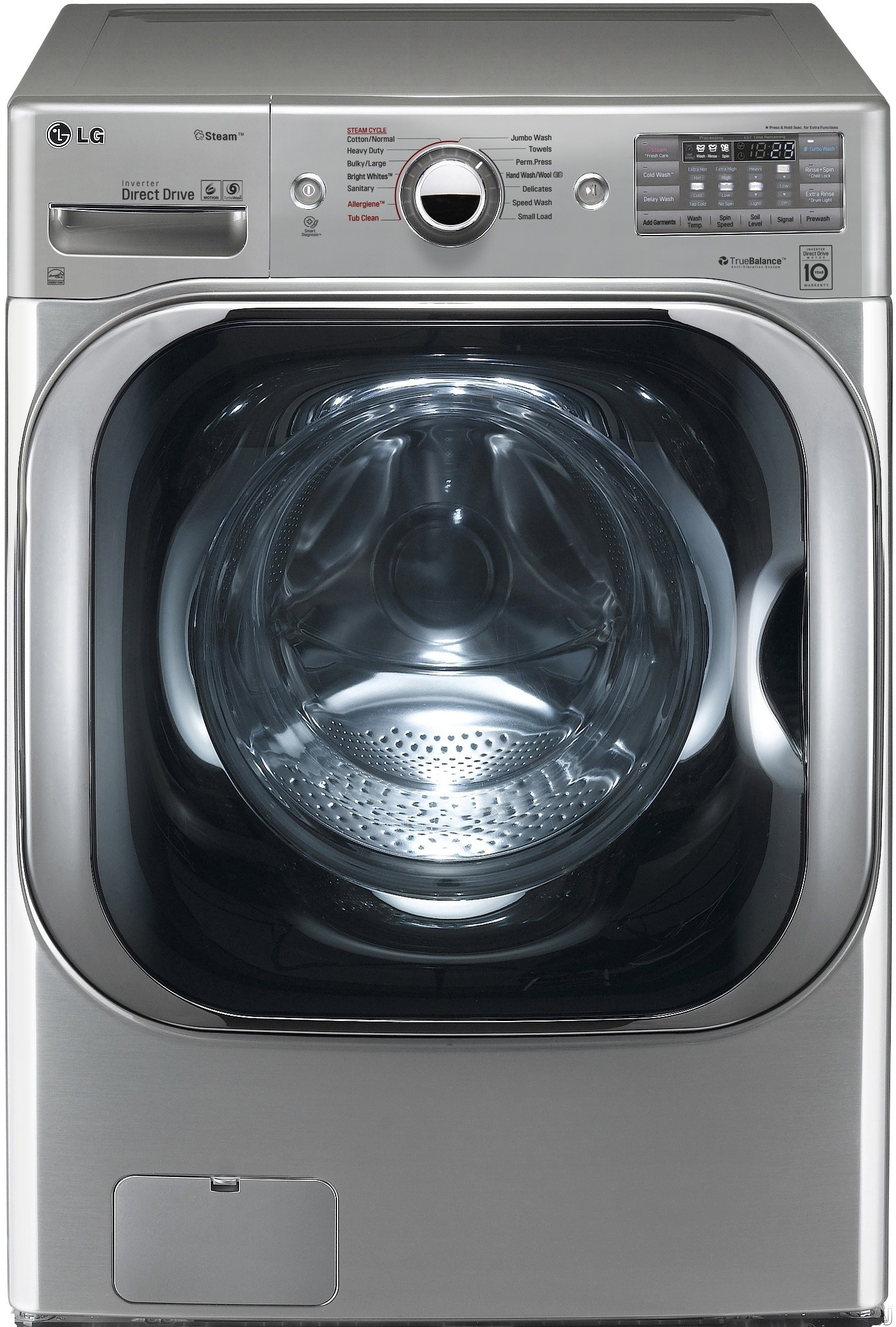 LG WM8100HVA 29 Inch 5.2 cu. ft. Front Load Washer with 14 Wash Programs, TurboWash Technology, Steam, 1,300 RPM, Allergiene Cycle, SenseClean, LoDecibel Quiet Operation, NFC Tag on Technology, NeveRu