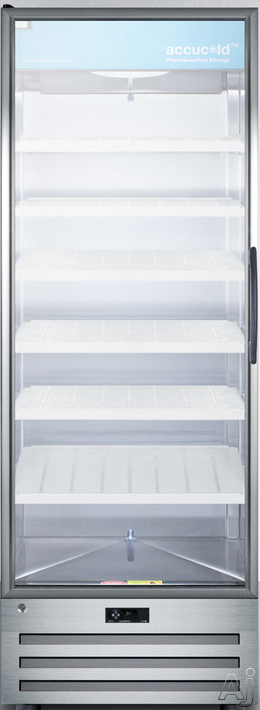 Image of AccuCold ACR1718LH 28 Inch Pharmaceutical All-Refrigerator with 17.0 cu. ft. Capacity, 6 Adjustable Cantilevered Shelves, Open Door Alarm, High/Low Temperature Alarm, Factory Installed Lock and Automatic Defrost: Left-Handed