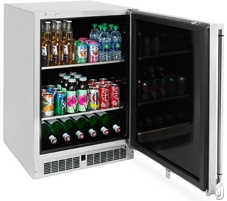 Lynx LM24BF 24 Inch Outdoor Undercounter Beverage Center with Blue LED Lighting, Insulated Cabinet, Lock, Alarm, Digital Readout and Energy Star Rated LM24BF