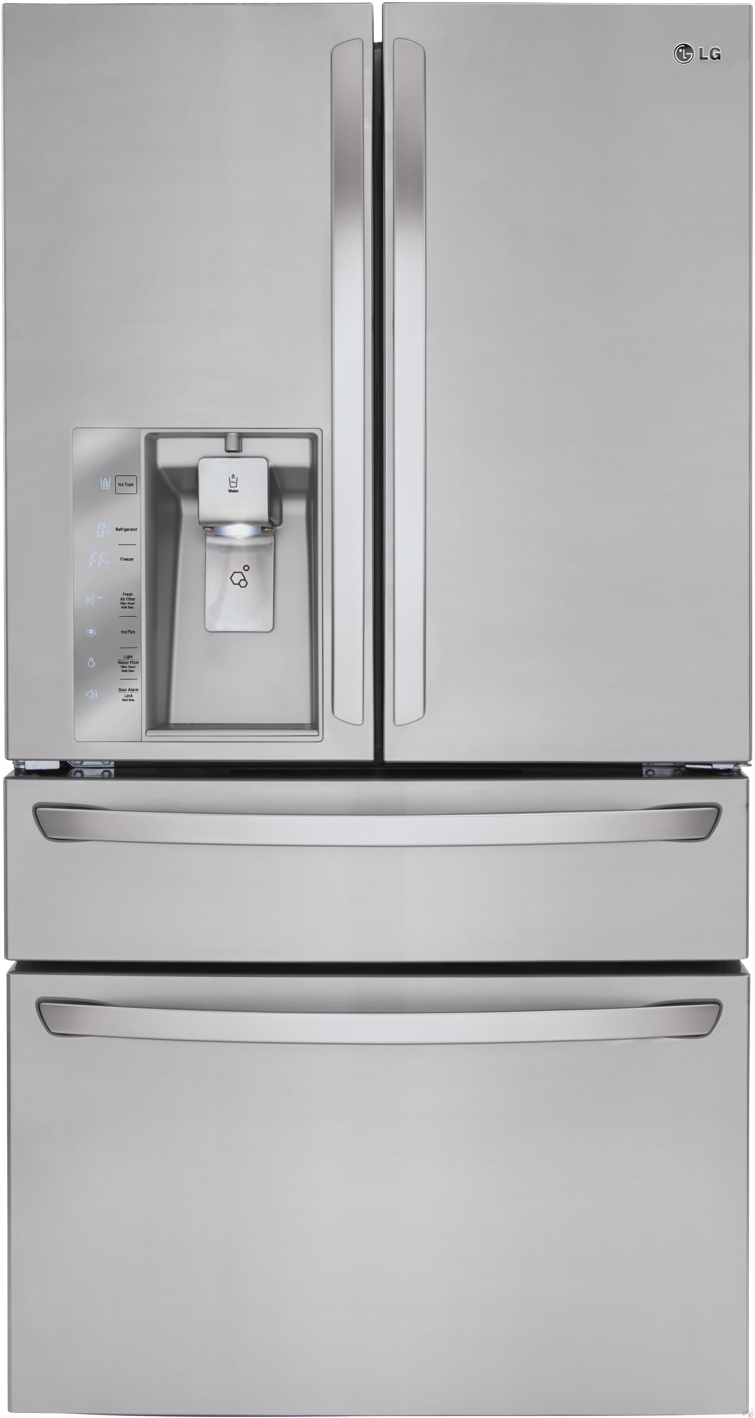 LG - 29.9 Cu. Ft. 4-Door French Door Refrigerator with Thru-the-Door Ice and Water - Stainless steel LMXS30746S