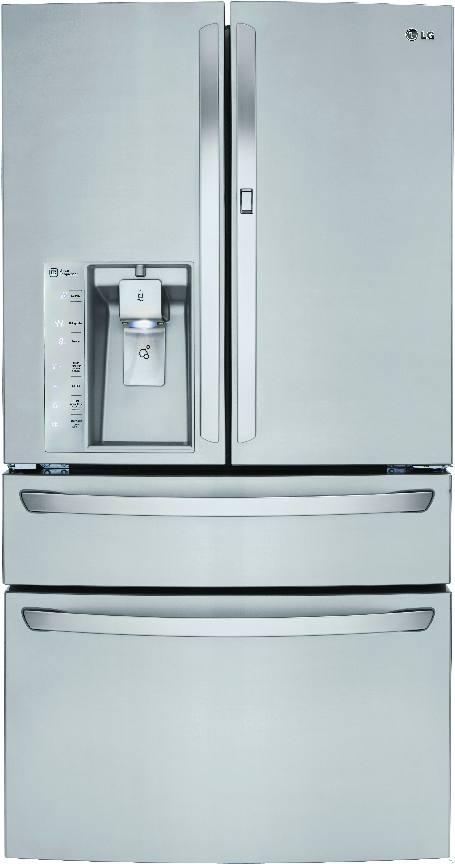 LG LMXS30776S 36 Inch 4-Door French Door Refrigerator with Easy-Access Door-in-Door�?®, CustomChill�?® Drawer, Slim SpacePlus�?®, Fingerprint Resistant, Spil