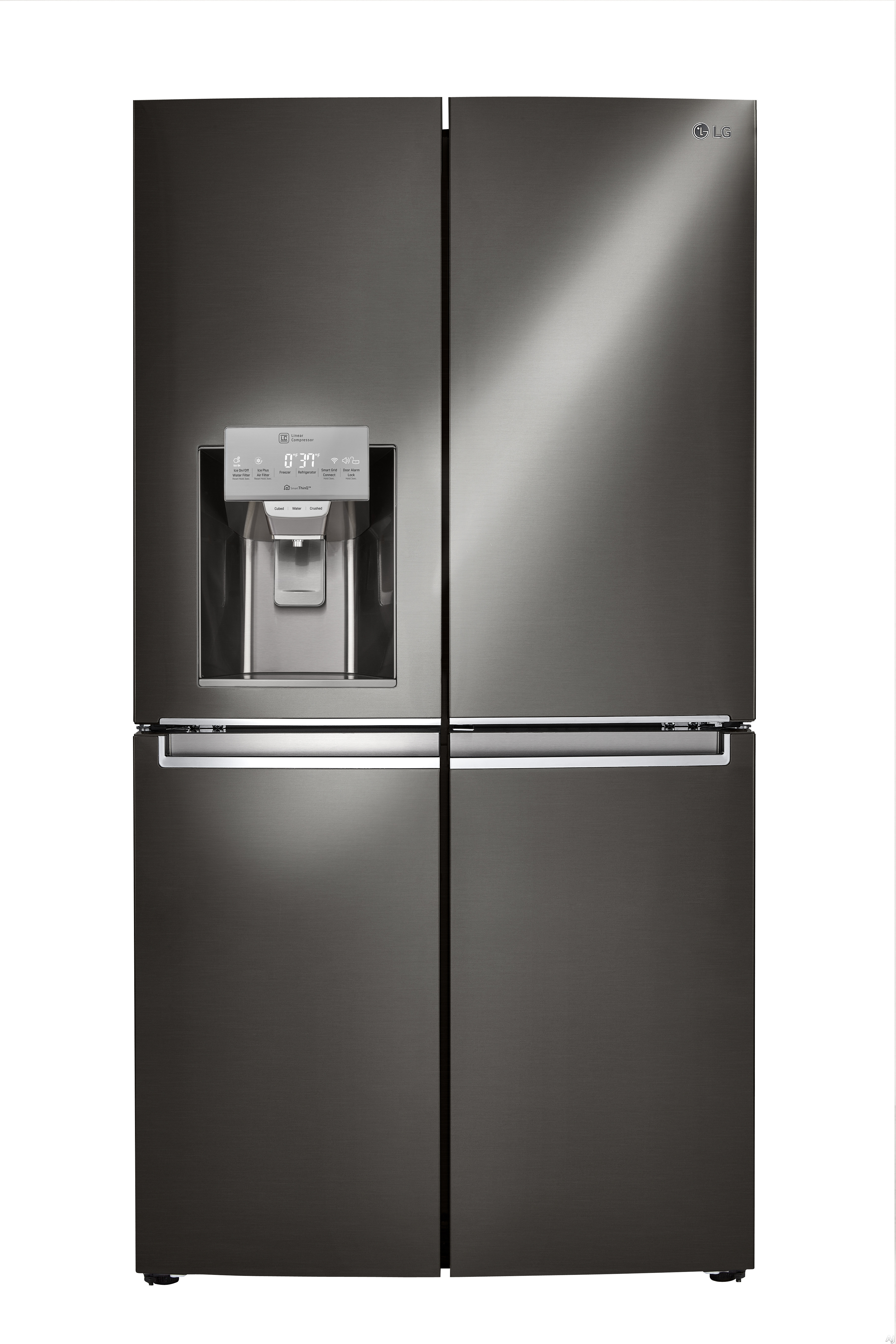 Image of LG LNXS30866D 36 Inch 4-Door French Door Refrigerator with Door-in-Door® s/ ColdSaver Panel™, Fold-Out Mini-Table, Ice and Water Dispenser, Slim SpacePlus® Ice System, Cantilevered SpillProtector™ Shelving, Fresh Air Filter, ENERGY STAR® and 29.9 c