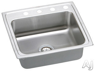 Elkay Lustertone Collection LR25213 25 Inch Top Mount Single Bowl Stainless Steel Sink with 18-Gauge, 8 Inch Bowl Depth, Self-Rim and U-Channel Type Mounting System: 3 Holes