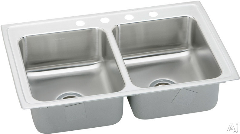 Elkay Lustertone Collection LR29221 29 Inch Top Mount Double Bowl Stainless Steel Sink with 18-Gauge, 7-5/8 Inch Bowl Depth, 22 Inch Length, Self-Rim and U-Channel Type Mounting System: 1 Hole