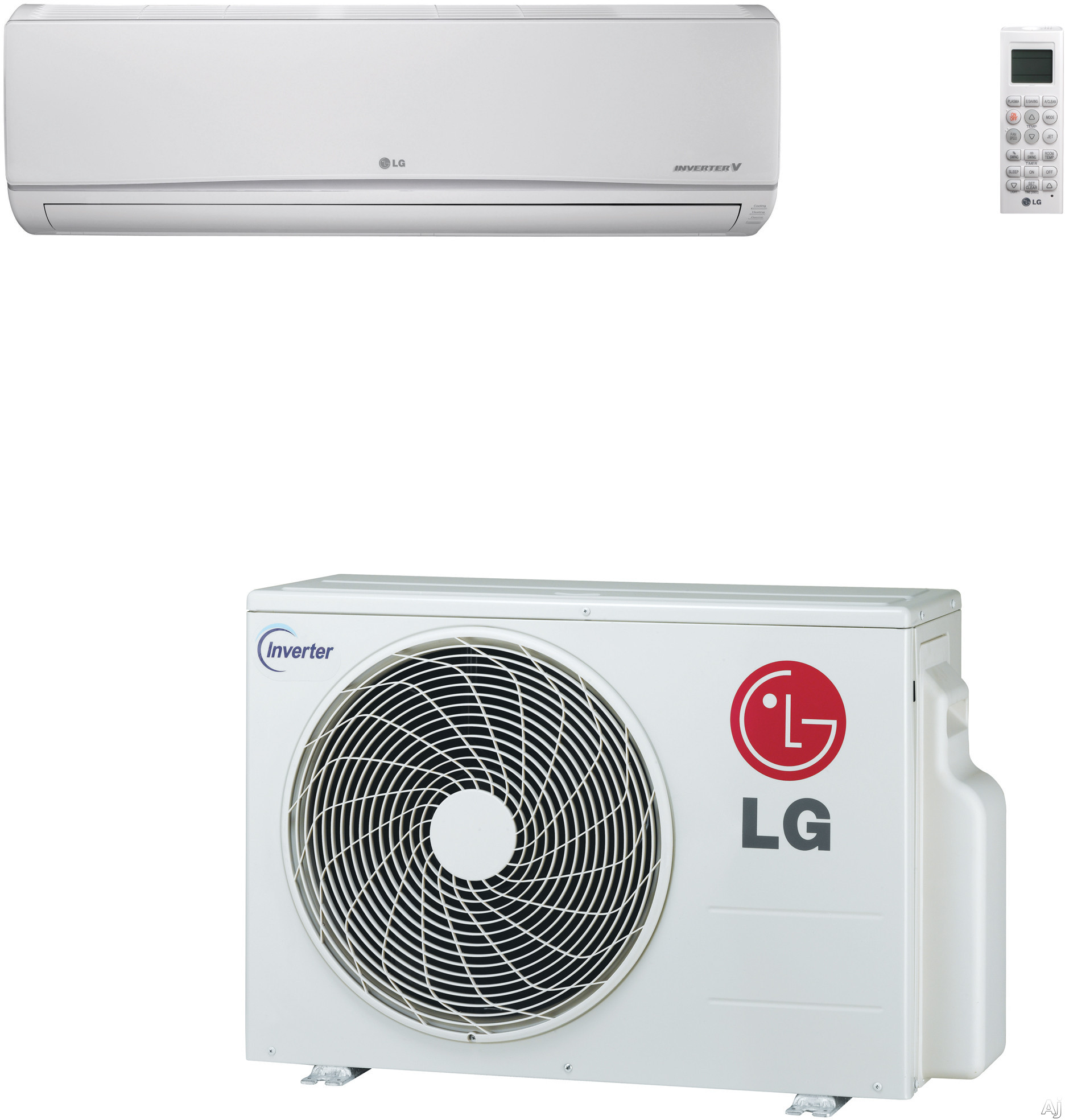 LG LS120HEV1 12,000 BTU Mega Single Zone Wall-Mount Ductless Split System with 12,000 BTU Heat Pump, 16.3 SEER, 10.26 EER and Inverter Compressor (LSN120HEV1 Indoor / LSU120HEV1 Outdoor) LS120HEV1
