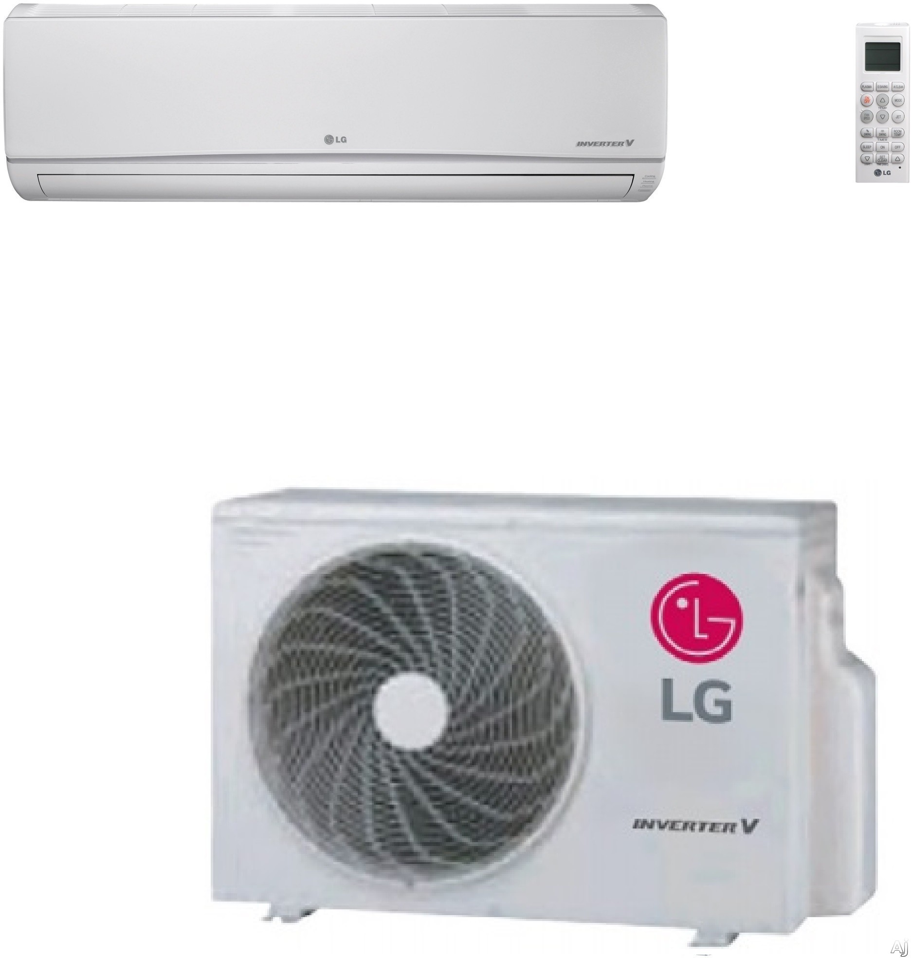 LG LS180HEV1 17,000 BTU Mega Single Zone Wall-Mount Ductless Split System with 19,000 BTU Heat Pump, 18.0 SEER, 10.97 EER and Inverter Compressor (LSN180HEV1 Indoor / LSU180HEV1 Outdoor) LS180HEV1