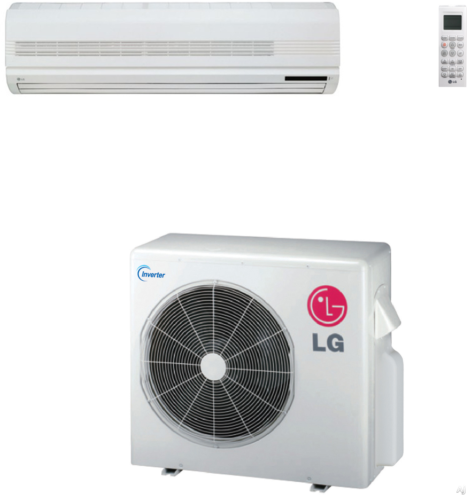 LG LS307HV3 30,000 BTU Single Zone Wall-Mount Ductless Split System with 32,000 BTU Heat Pump, 10.0 EER, Inverter and R-410A Refrigerant (LSN307HV3 Indoor/LSU307HV3 Outdoor)