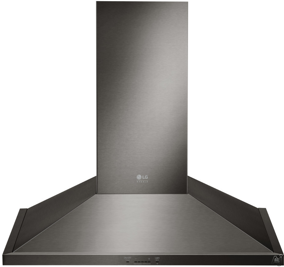 LG Studio LSHD3689BD 36 Inch Wall Mount Chimney Range Hood with Recirculating Option, 5 Speed Levels, Wi-Fi Connectivity, Dual Level LED Lighting, Low-Profile Body, 600 CFM Blower and Fingerprint-Resi