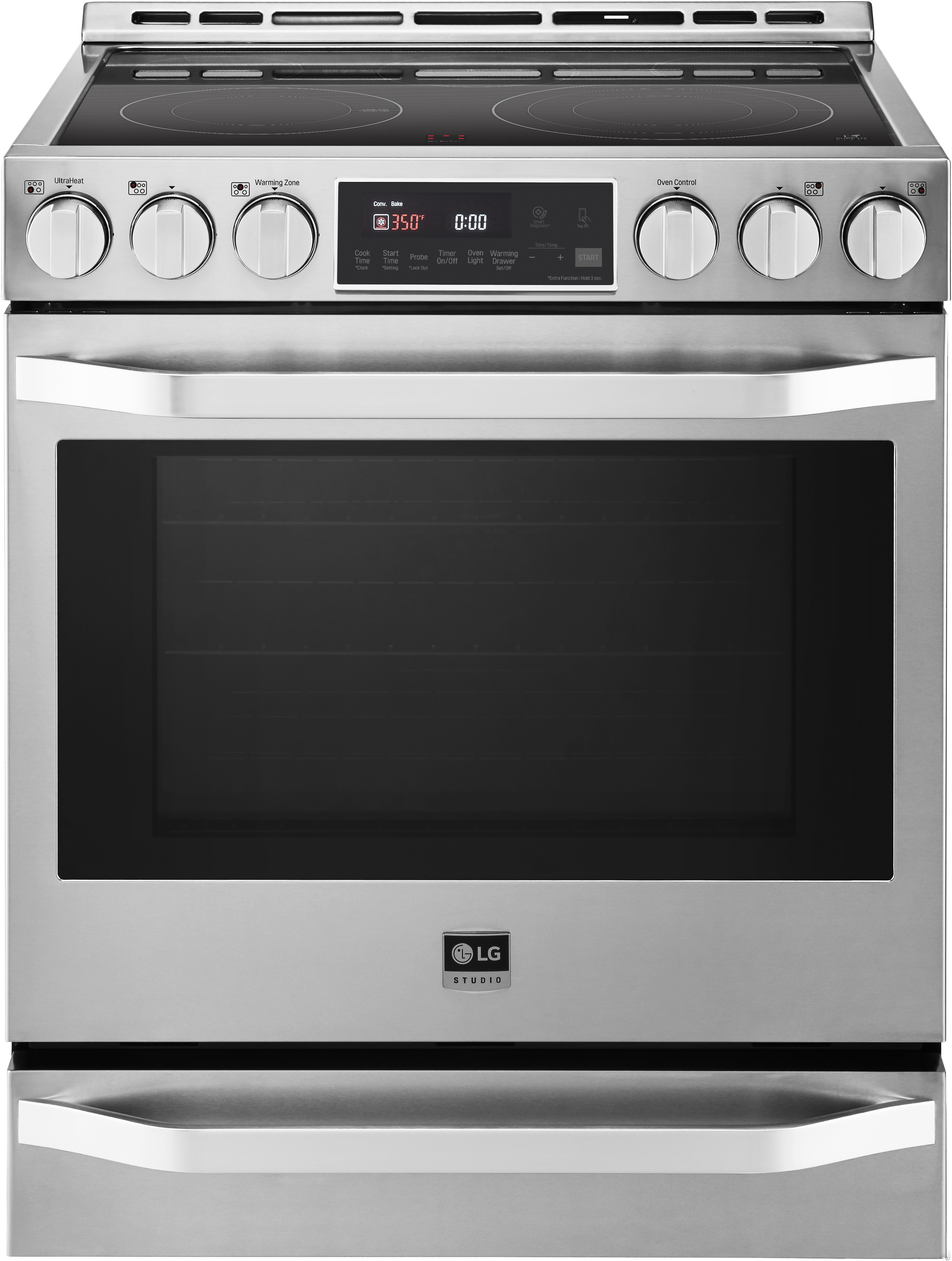 LG Studio LSSE3026ST 30 Inch Slide-In Electric Range with Convection, Infrared Heating, EasyClean, Delay Start, 6.3 cu. ft. Capacity, 5 Smoothtop Elements, Hot Surface LED Indicator and Warming Drawer