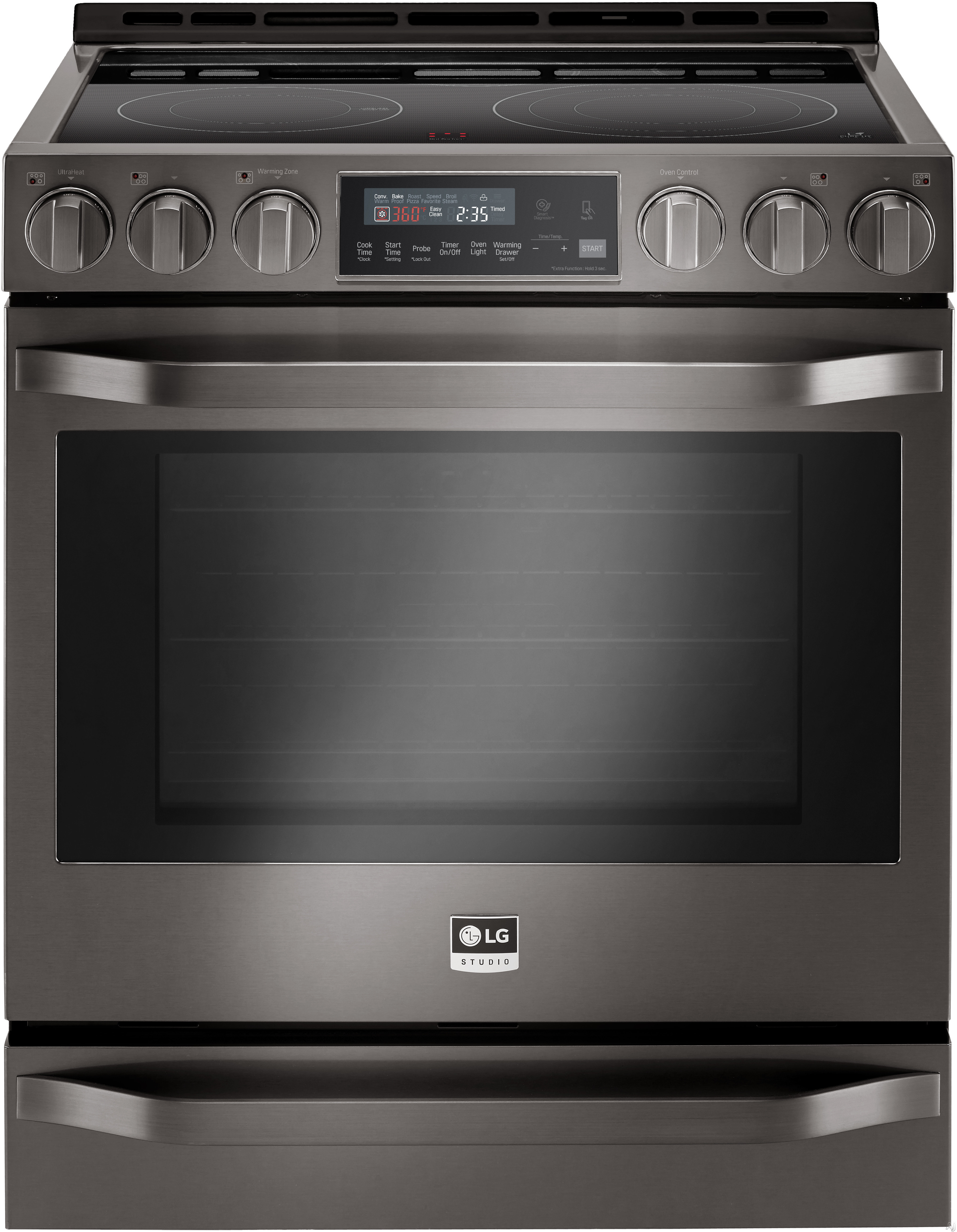 LG Studio LSSE3029BD 30 Inch Slide-In Electric Range with Convection, Infrared Heating, EasyClean, Delay Start, 6.3 cu. ft. Capacity, 5 Smoothtop Elements, Hot Surface LED Indicator and Warming Drawer