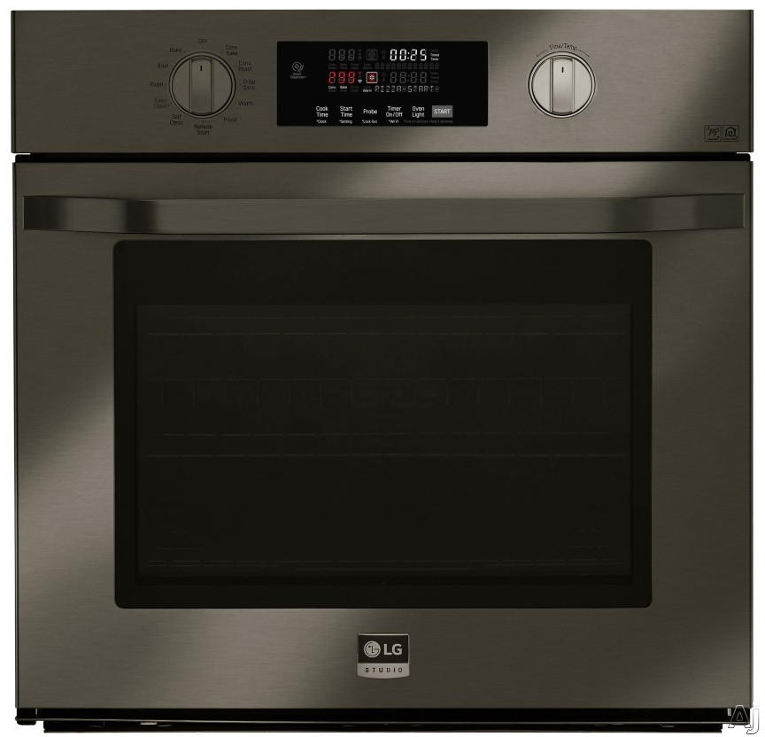 LG Studio LSWS300BD 30 Inch Single Electric Wall Oven with Convection, Gliding Rack System, EasyClean®, Hidden Bake, PrintProof™ Finish, Self-Cleaning, SmartThinQ® Technology, Voice Comman