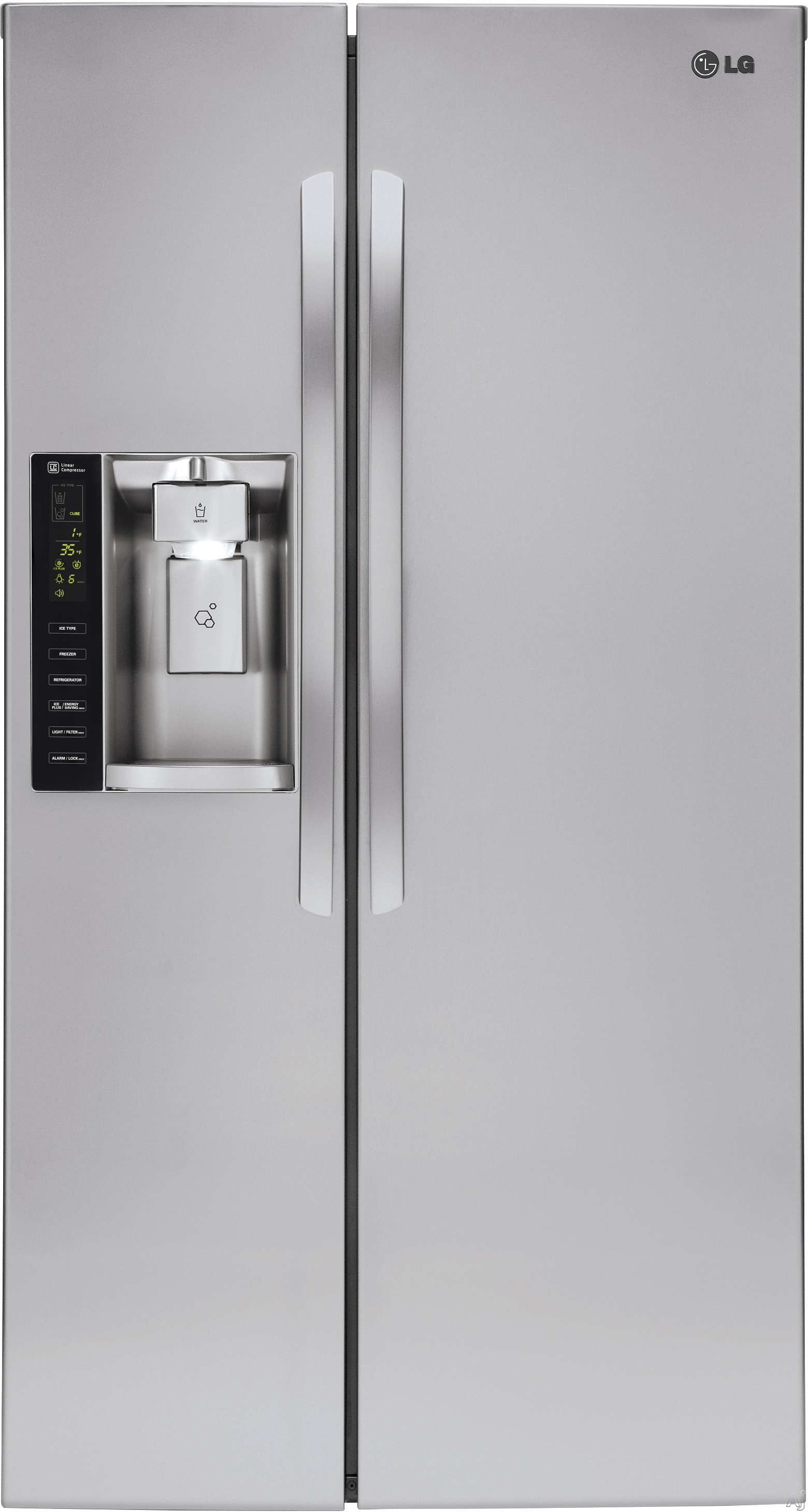 LG - 26.2 Cu. Ft. Side-by-Side Refrigerator with Thru-the-Door Ice and Water - Stainless Steel LSXS26326S