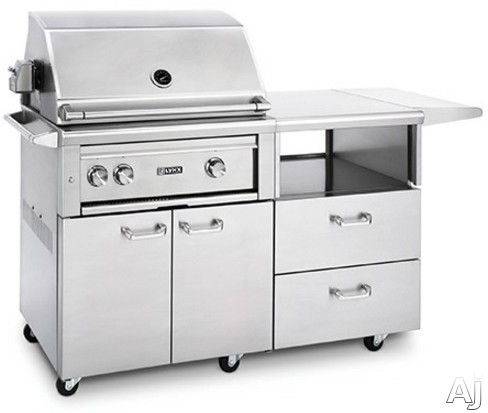 Lynx Professional Grill Series L30ASRM 70 Inch Mobile Kitchen Cart Grill with 840 sq. in. Cooking Area, 2 ProSear Burners, Rotisserie, Hot Surface Ignition, LED Illuminated Controls, Temperature Gauge, Smoker Box and Halogen Grill Surface Light