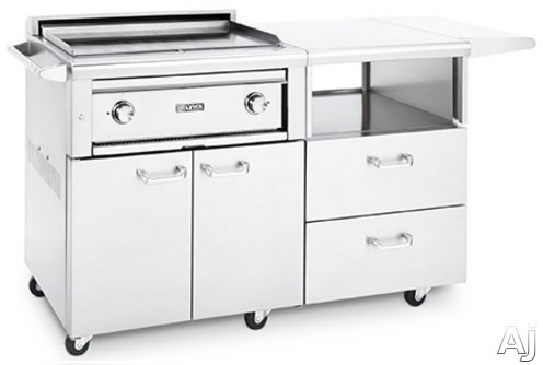 Lynx Asado Series L30AGM 30 Inch Grill on Mobile Kitchen Cart with 2 ProSear 2 Burners 42 000 BTUs 495 Sq In Cooking Area Hot Surface Ignition 606 Sq In Food Prep Area Storage Drawers Side Shelf and Fold Out Shelf